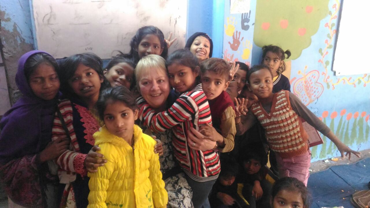Diane Cane while volunteering in India